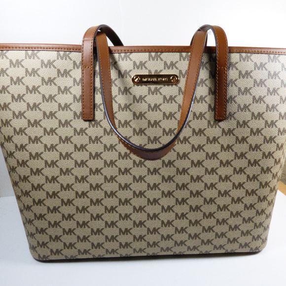 d93c692a31e206 Michael Kors Bags | Emry Tote Natural Brown Coated Canvas | Poshmark